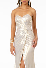 GL 2894 - Strapless Metallic Prom Gown with Sweet Heart Neck Leg Slit & Lace Up Corset Back