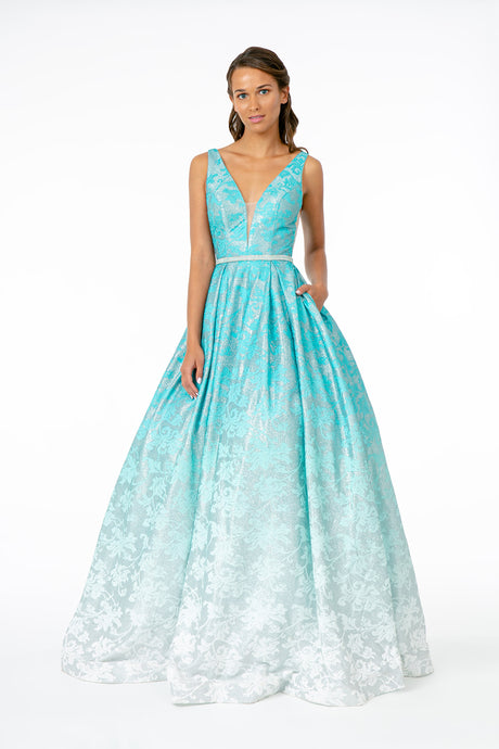 GL 2897 - Floral Printed Ombre A-Line Prom Gown with V-Neck & Pockets
