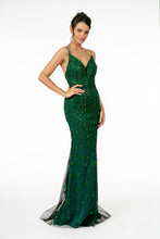 GL 2917 - Glittery Fit & Flare Prom Gown with Spaghetti Straps V-Neck & Open Back