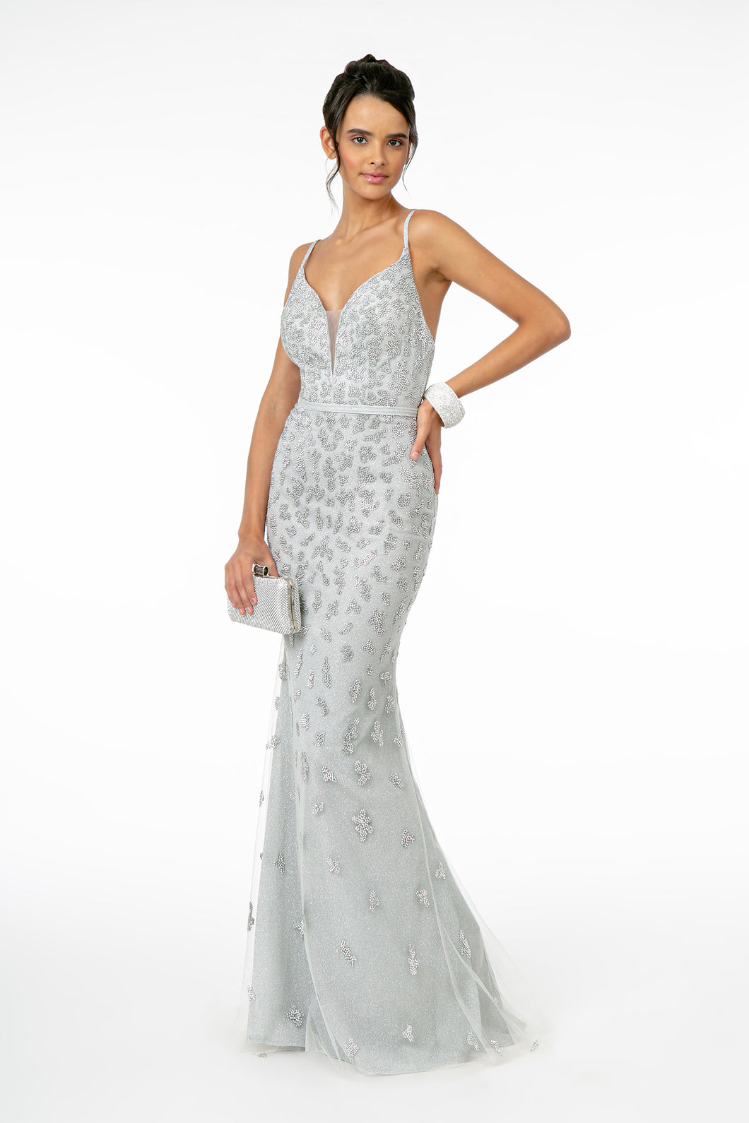 GL 2917 - Glittery Fit & Flare Prom Gown with Spaghetti Straps V-Neck & Open Back - Diggz Prom