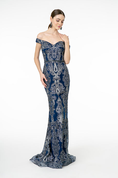 GL 2922 - Off the Shoulder Fit & Flare Gown with Silver Applique Beaded Belt & Train