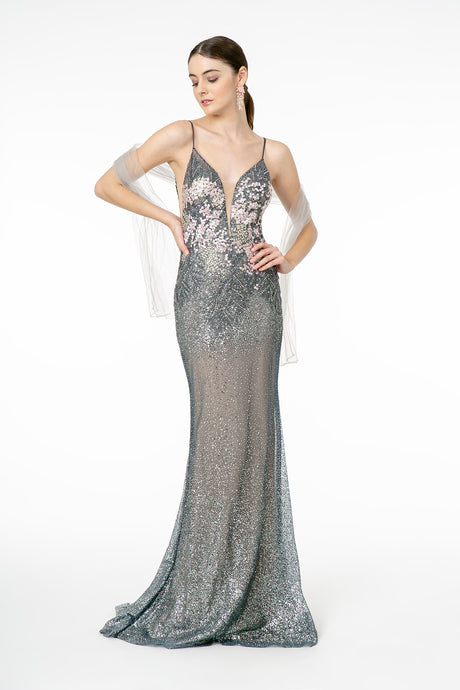 GL 2929 - Fit & Flare Prom Gown with V-Neck Spaghetti Straps & Appliqué on Glittery Tulle Overlay