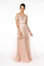 GL 2942 - Glittery Off the Shoulder A-Line Prom Gown Tulle Skirt & Beaded Belt