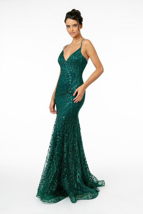 GL 2965 - Fit & Flare Prom Gown with Glitter Tulle Overlay Spaghetti Straps & V-Neck