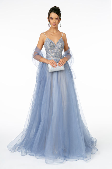 GL 2991 - A-Line Ball Gown with Beaded Bodice Layered Tulle Skirt & Rhinestone Belt