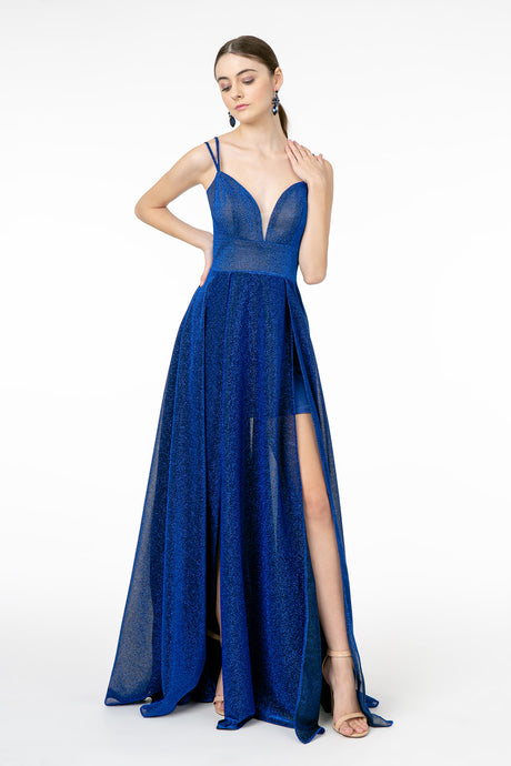 GL 2997 - A Line Prom Gown with V Neck Spaghetti Straps & Leg Slit