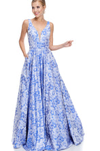 Diggz Prom BC AN37 - A-Line Print Ball Gown with V-Neck Mesh Sides and Pockets - Diggz Prom
