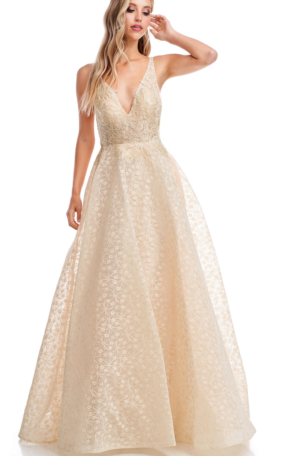 Diggz Prom BC AN9001 - V-Neck Tank Style A-Line Ball Gown with Floral Lace Top And Embossed Skirt - Diggz Prom