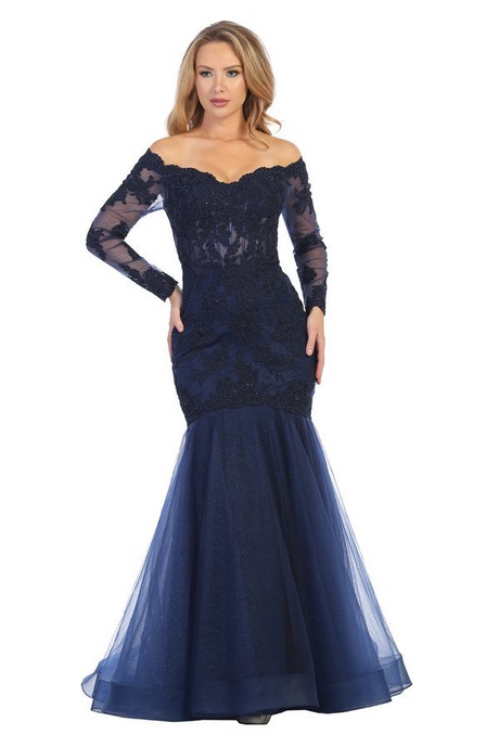 LF 7640L - Mermaid prom gown with lace & corset back.