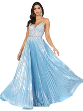 DQ 4038 - Metallic A-Line with Bead & Lace Embellished Bodice & Pleated Skirt - Diggz Prom