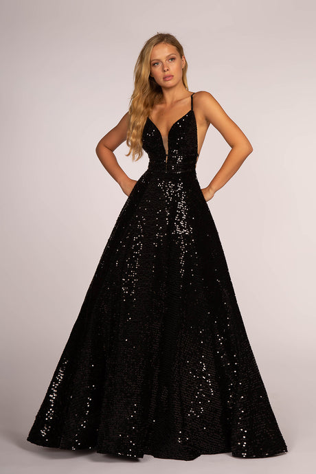 GLS GLS 2581 - A-Line Full Sequin Ball Gown with Deep V Neckline and Open Back - Diggz Prom