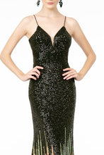 GLS GL 2899 - Full Sequin Ombré Prom Gown with  Illusion V-Neck & Spaghetti Straps - Diggz Prom