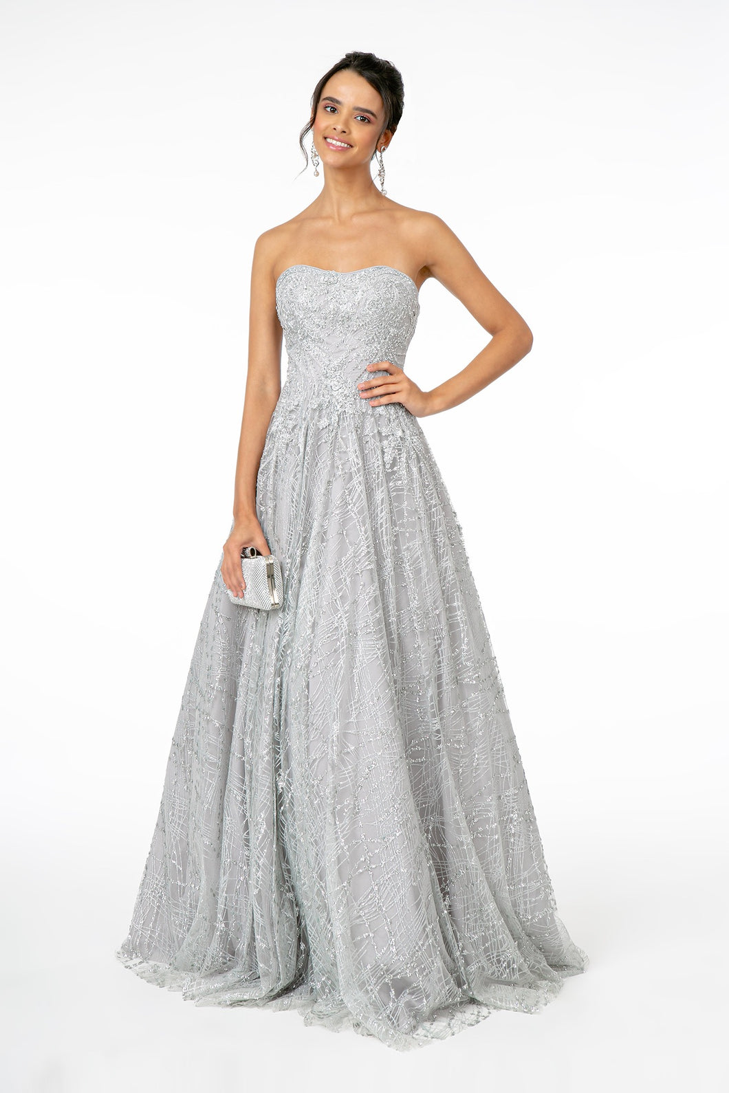 GLS GL 2921 - Glitter Strapless A-Line Ballgown with Bead & Embellished Bodice - Diggz Prom