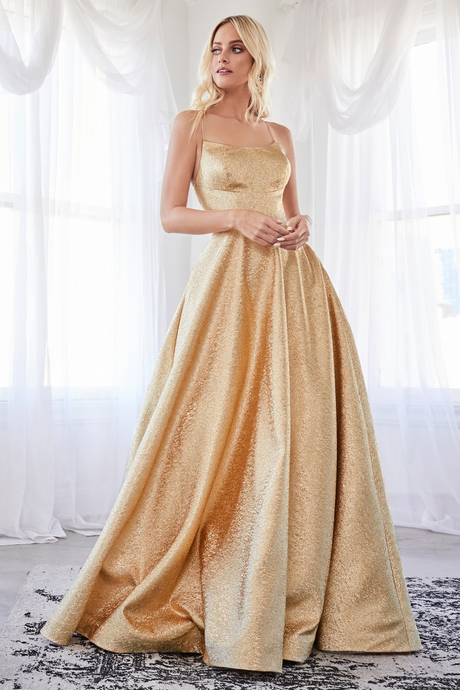 Cinderella Divine Chart I CD CD203 - Gold Metallic Ballgown with Straight Neck & Lace Up Corset Back - Diggz Prom