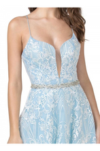 Aspeed Size Chart A AS 2373 - Embroidered A-Line Gown with V-Neck Spaghetti Straps & Open Lace Up Corset Back - Diggz Prom