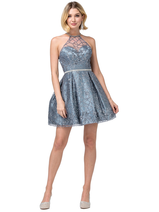 DQ 3224 - Short Glitter Homecoming Gown with High Neck & Rhinestone Belt - Diggz Prom
