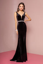 GL 2559 - Velvet Fit & Flare Prom Gown with V Neck & Beaded Belt - Diggz Prom