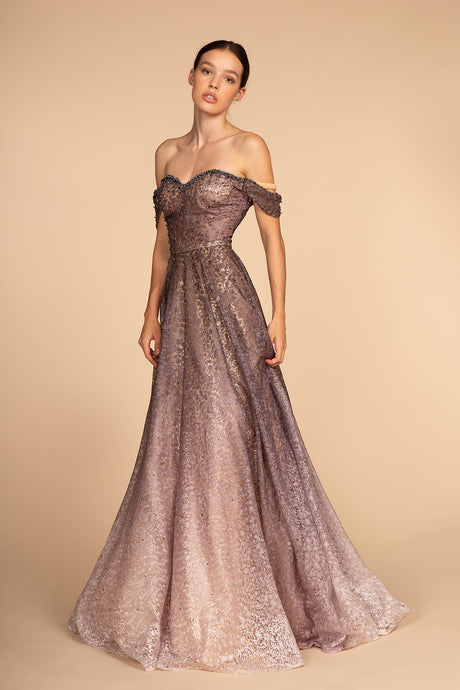 GL 2570 - Off the Shoulder Pearl & Lace A-Line Prom Gown With Sweet Heart Neck & Ombre Skirt