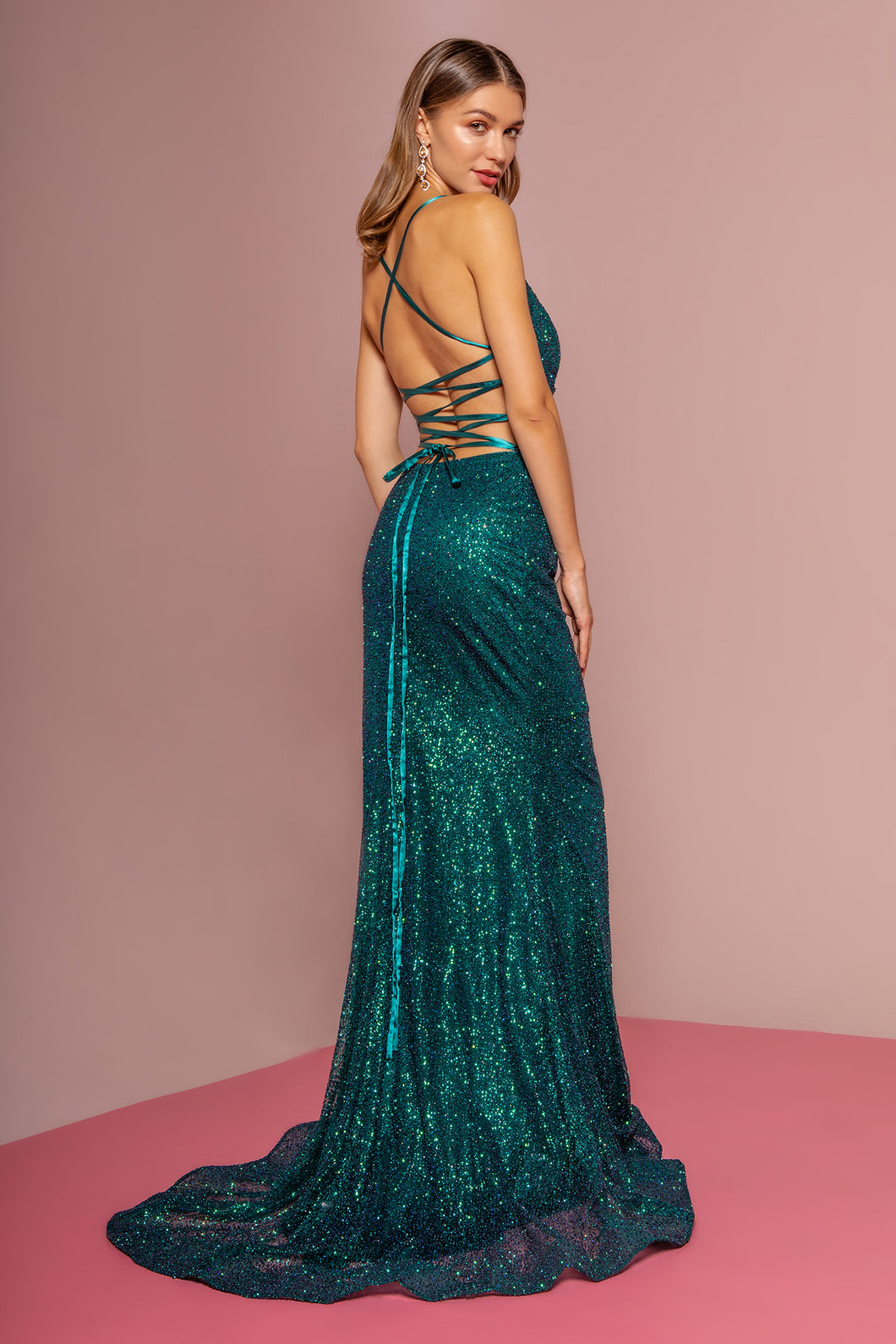 GL 2586 - Fit & Flare Glitter Prom Gown with Rouched Waist Leg Slit & Open Corset Back - Diggz Prom