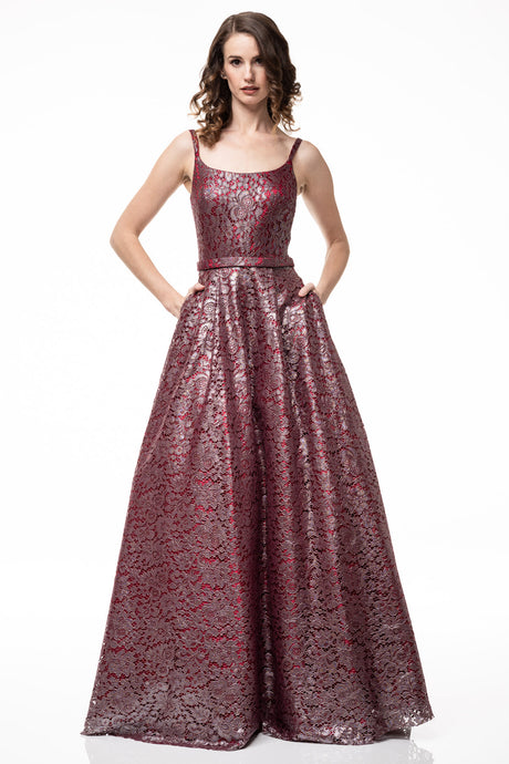 Diggz Prom BC CP3902 - Scoop Neck Lace A-Line Ball Gown with Belt, Pockets, and Open Back - Diggz Prom