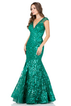 BC CP8701 - Cap Sleeve V-Neck Mermaid Gown with Sequin Pattern and V Neckline - Diggz Prom