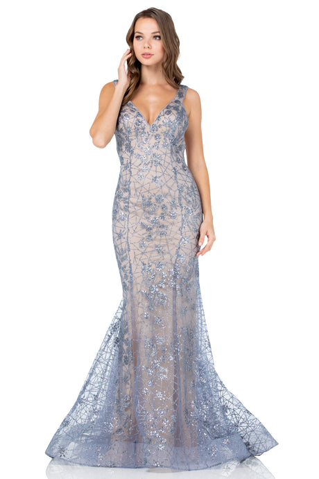 Diggz Prom BC CP8801 - Fit and Flare V-Neckline Glitter Patterned Gown with Open Back - Diggz Prom