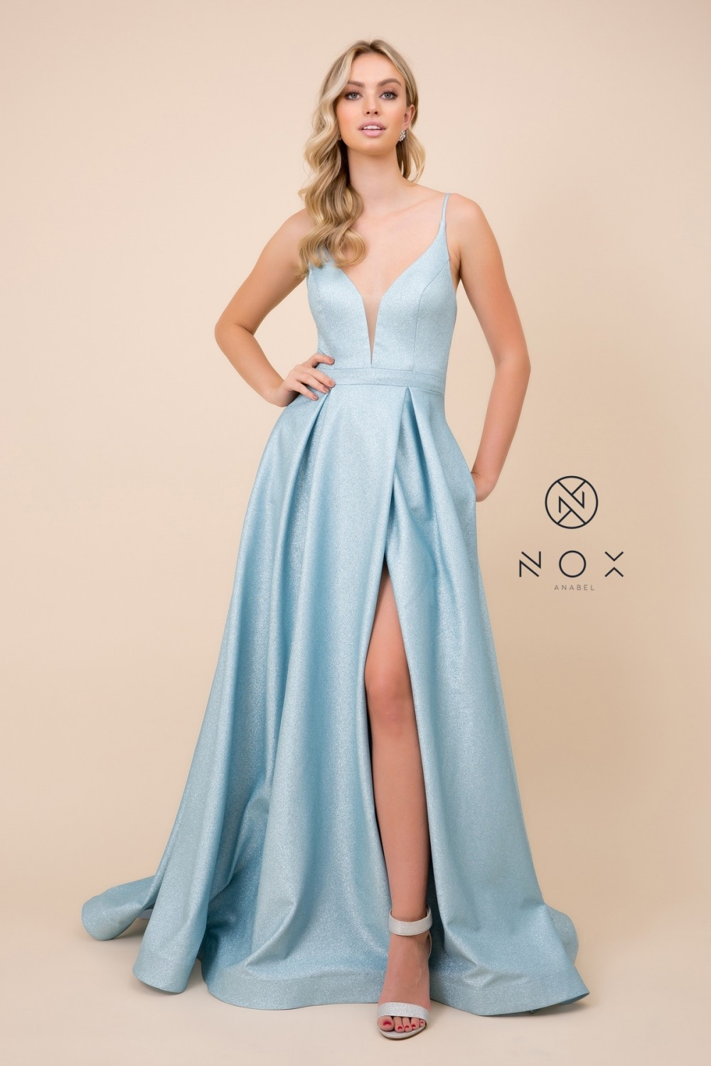 N E379 - Metallic A-Line Prom Gown with V-Neck Corset Back & Leg Slit - Diggz Prom