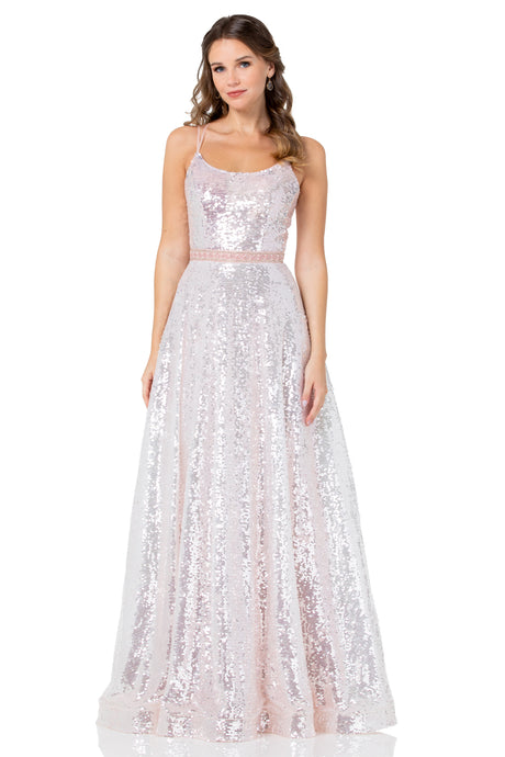 Diggz Prom BC DA398 - A-Line Fully Sequined Ball Gown With Straight Neckline And Lace Up Corset Back - Diggz Prom
