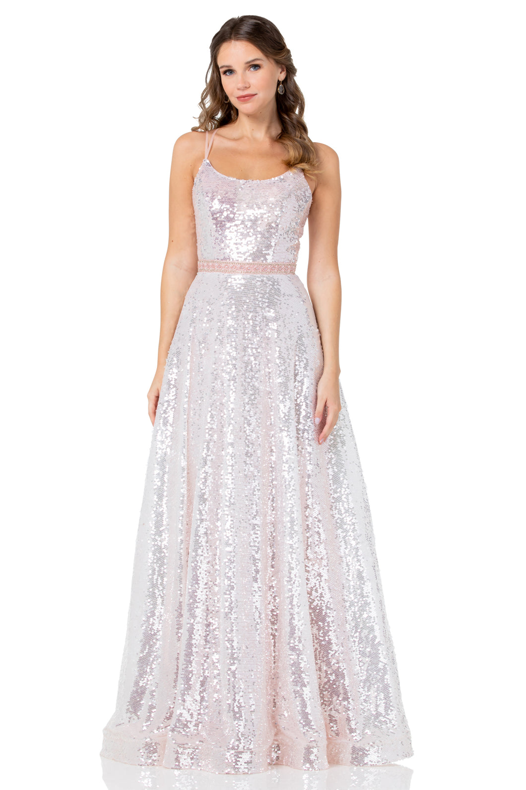 BC DA398 - A-Line Fully Sequined Ball Gown With Straight Neckline And Lace Up Corset Back - Diggz Prom