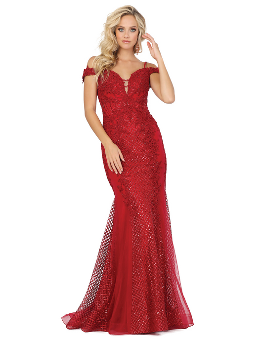 Dancing Queen DQ 2995 - Off the Shoulder Fit & Flare with Lace & Metallic Accents - Diggz Prom