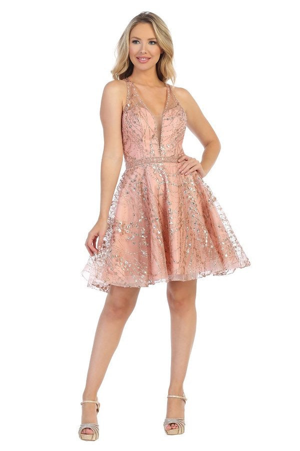 Lets Size Chart C LF 6216 - Short Rhinestone & Glitter Homecoming Dress with Plunging V-Neck & Belt - Diggz Prom