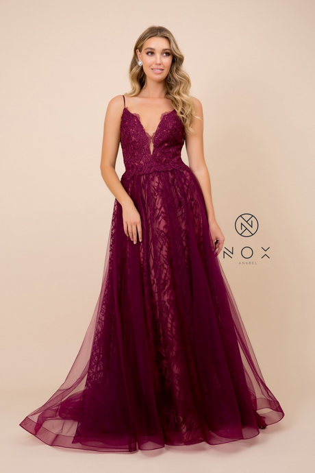 Nox N C305 - Embellished A-Line Prom Gown with Plunging V-Neck & Tulle Overlay Skirt - Diggz Prom