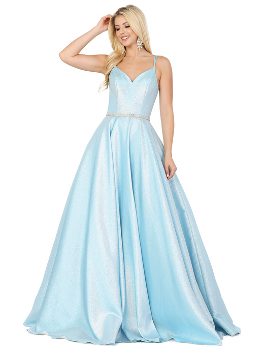 Dancing Queen DQ 2958 - Metallic Satin A- Line Prom Gown with Sweetheart Neck & Spaghetti Strap Corset Back - Diggz Prom