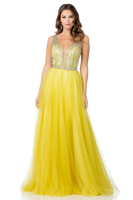 Diggz Prom BC EM12022 - A-Line V-Neck Tulle Gown with Embellished Top and Tank Style Straps - Diggz Prom