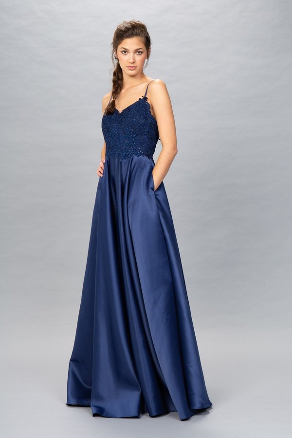 EU 8500 - Satin Ball Gown with Sheer Lace Appliqué V-Neck Bodice & Pockets - Diggz Prom