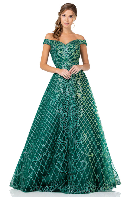 Diggz Prom BC GA196 - Off the Shoulder A-Line Ball Gown with Glitter Pattern and Sweetheart Neckline - Diggz Prom