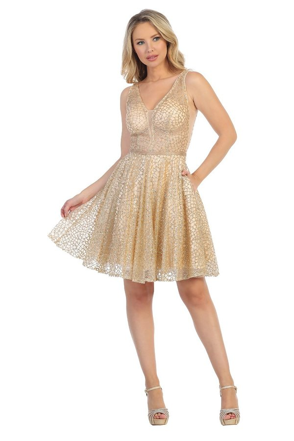 Lets Size Chart C LF 6203 - Short Glittery Homecoming Dress with Sheer V-Neck & Rhinestone Embellished Accents - Diggz Prom