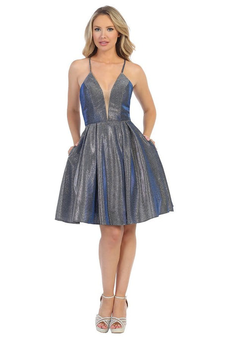 LF 6224 - Deep V-Neck Short Metallic Glitter Homecoming Dress with Corset Back and Pockets