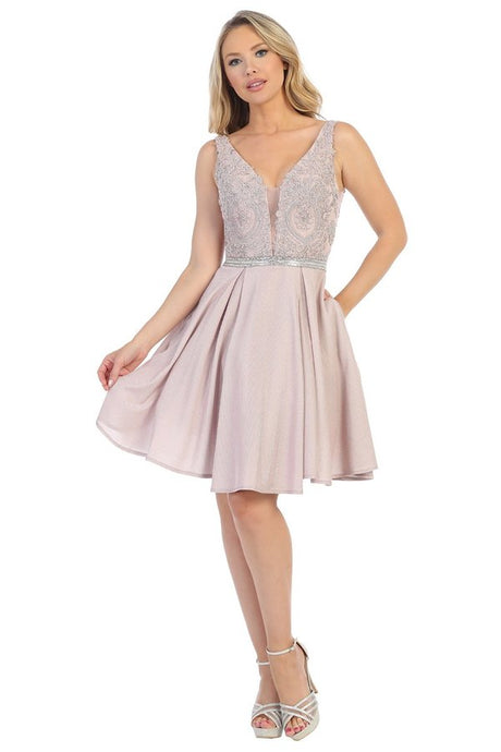 Lets Size Chart C LF 6200 - A-Line Metallic Short Homecoming Dress with Lace Bodice Applique and Pockets - Diggz Prom