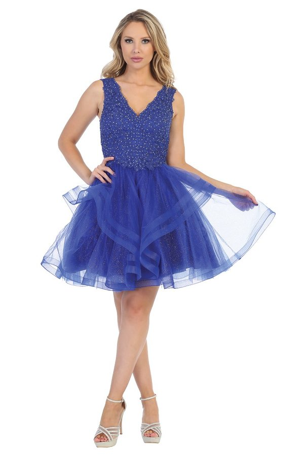 Lets Size Chart C LF 6213 - Tank Style A-Line Short Homecoming Dress with Beaded Bodice and Ruffled Tulle Skirt - Diggz Prom