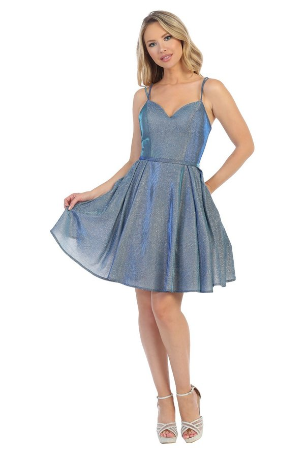 LF 6222 - Metallic Homecoming Dress with Sweet heart Neckline Double Straps & Pockets