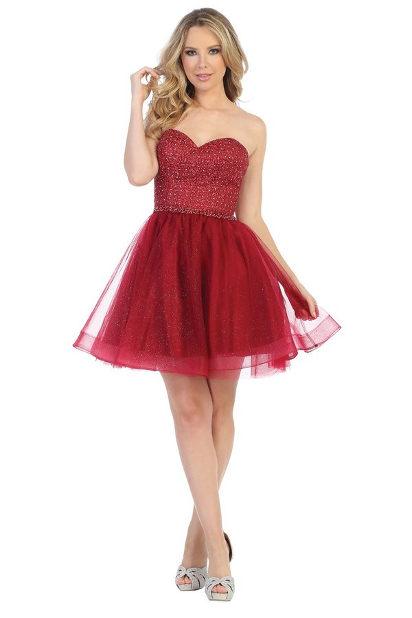LF 6226 - Strapless Sweetheart Neckline Glitter Beaded Homecoming Dress with Tulle Skirt - Diggz Prom