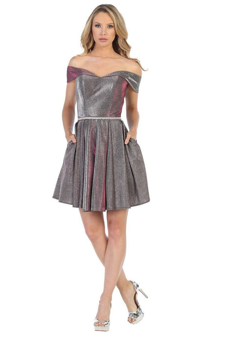 LF 6228 - Metallic Glitter Off the Shoulder Sweetheart Homecoming Dress with Beaded Belt and Pockets