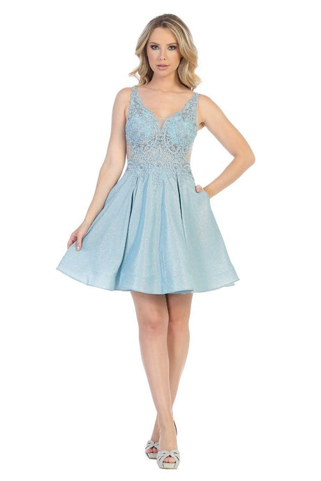 LF 6229 - A-Line Short Metallic Glitter Homecoming Dress with Mesh Lace Bodice and See Through Sides