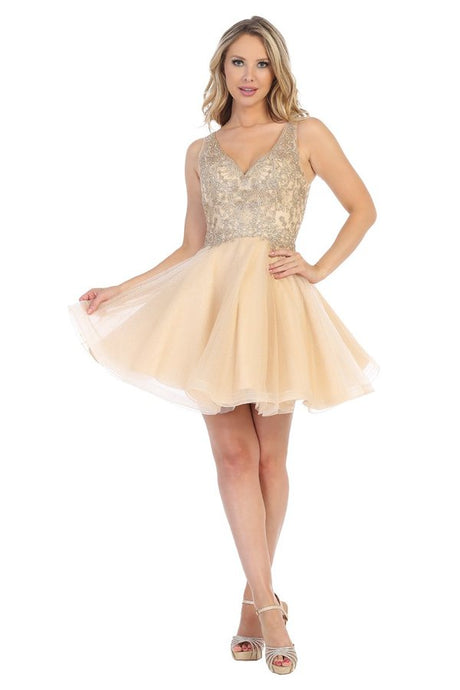 LF 6230 - A-Line Glitter Tulle Homecoming Dress with Lace Applique Bodice and Fully Covered Back