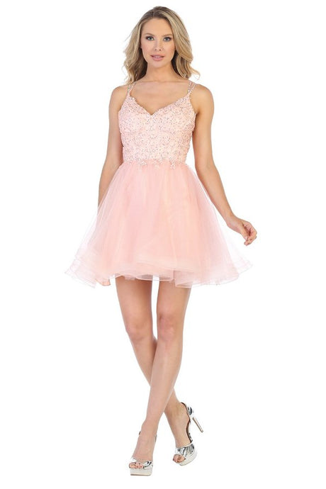 LF 6231 - Two Strap Lace Bodice Homecoming Dress with Beaded Straps and Tulle Skirt