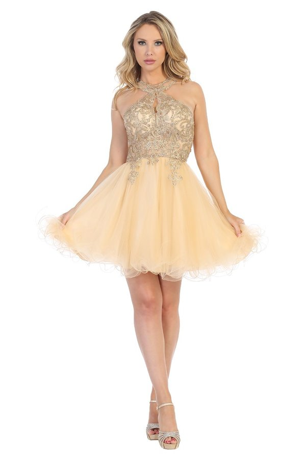 Lets Size Chart C LF 6232 - Lace Applique Top Short Homecoming Dress with Keyhole Neckline and Tulle Skirt - Diggz Prom