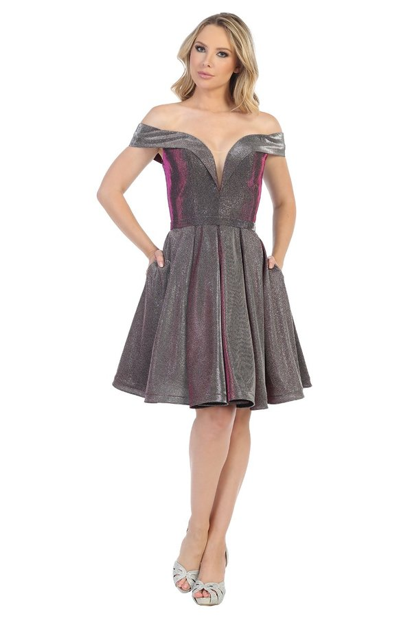 LF 6233 - Short Glitter Metallic Off the Shoulder Homecoming Dress with Deep-V Neck and Pockets