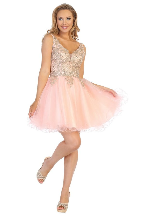 LF 6237 - A Line Homecoming Dress with Embroidered Bodice & Tulle Skirt