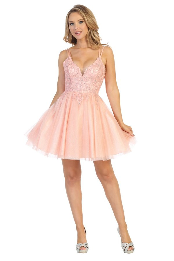 LF 6238 - A Line Homecoming Dress with V-Neck Lace Bodice Corset Back & Tulle Skirt